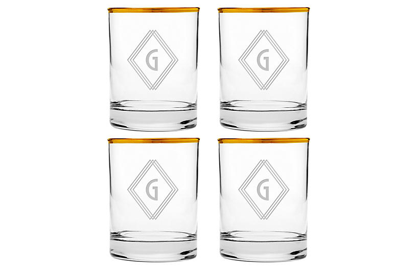 S/4 Deco Diamond Monogram Glasses, Gold
