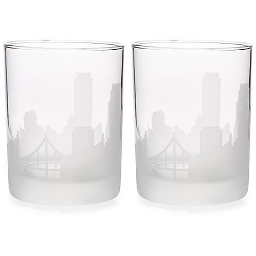 S/2 San Francisco Skyline DOF Glasses, Clear