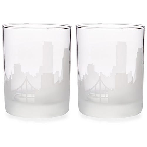 S/2 San Francisco Skyline DOF Glasses, Clear