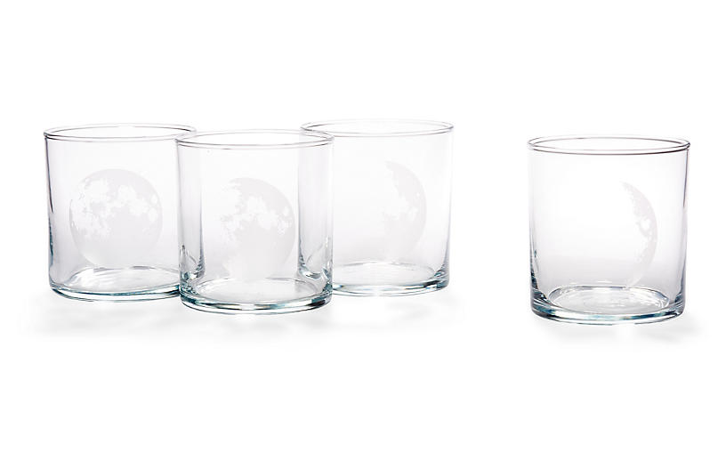 Asst. of 4 Moon Phases DOF Glasses, Clear