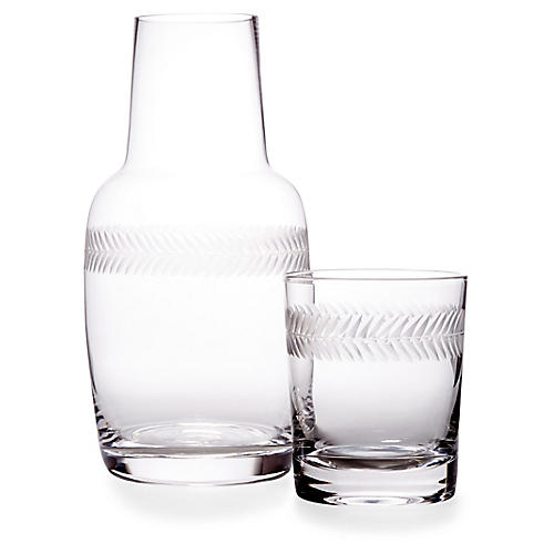 Asst. of 2 Laurel Carafe & Glass, Clear