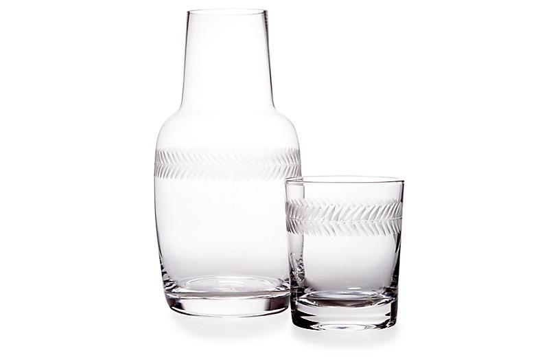 Asst. of 2 Laurel Carafe & Glass, Clear
