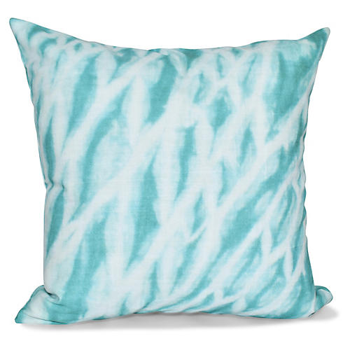Shibori Outdoor Pillow, Teal