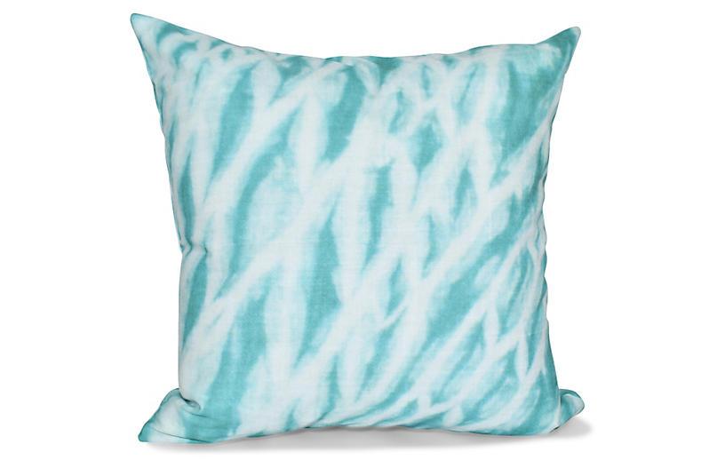 Shibori Outdoor Pillow, Teal