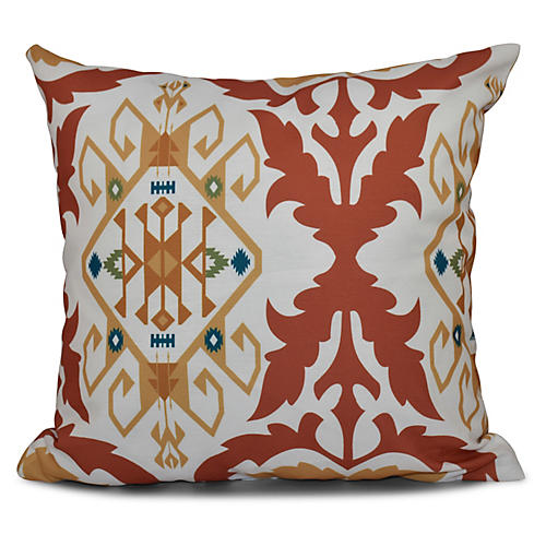 Bombay Medallion Outdoor Pillow, Coral
