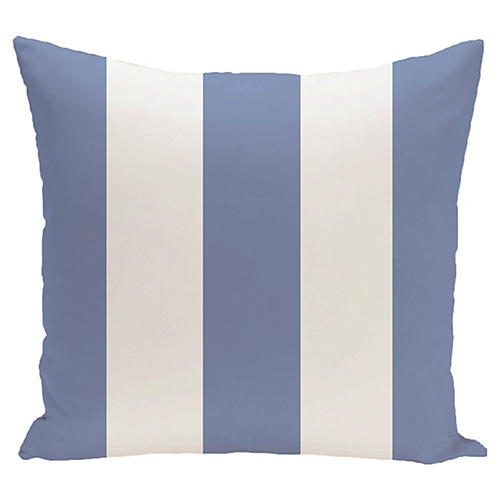 Awning-Stripe Outdoor Pillow, Blue