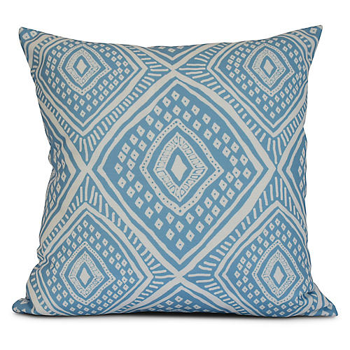 Diamond Eye Outdoor Pillow, Blue