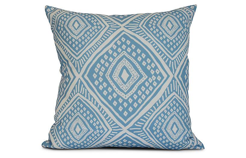Diamond Eye Outdoor Pillow, Blue