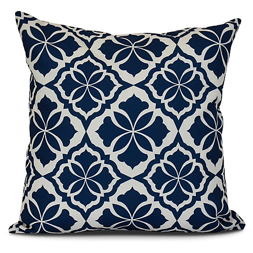 Floral Outdoor Pillow, Blue