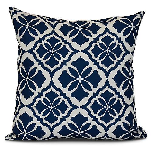Floral Outdoor Pillow, Blue