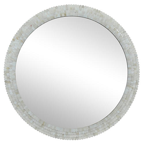 "Deanna 36"" Wall Mirror, Ivory"