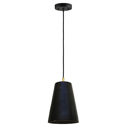 Falla Pendant, Waxed Black/Brass