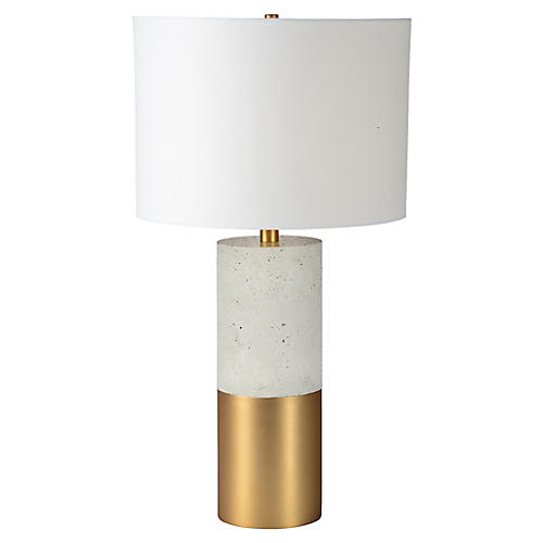 Wilgrove Table Lamp, Cement/Brass