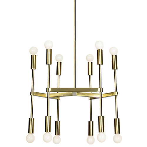 Ozara 12-Light Chandelier, Satin Gold