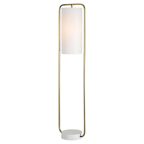 Indira Floor Lamp, Antiqued Brass/Cream