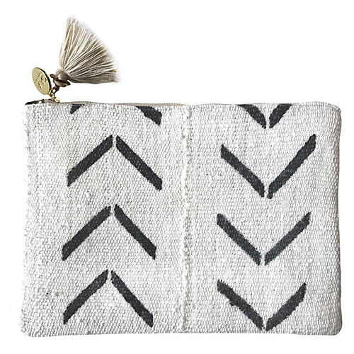 Safari Large Suede Pouch, Black/White