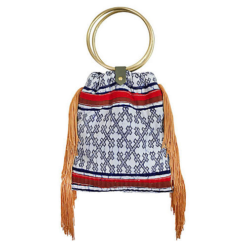 Traveler Fringe Crossbody Bag, Blue/Multi