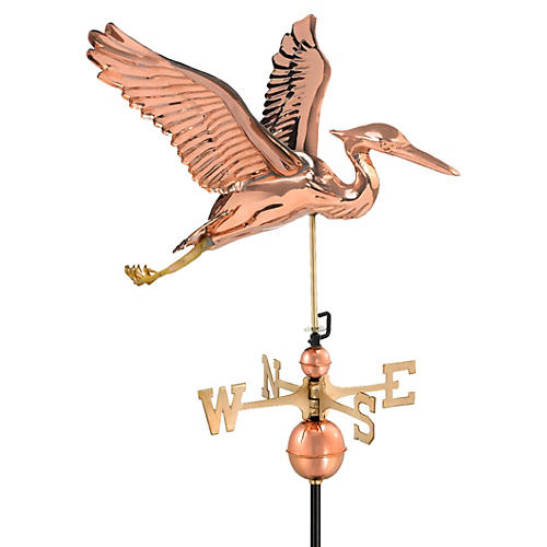 "28"" Blue Heron Weather Vane, Copper"