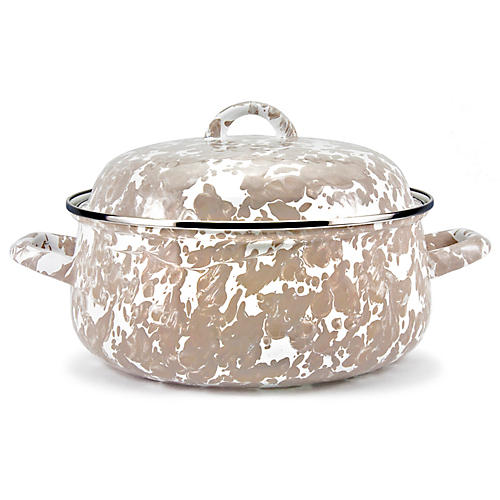 4-Qt Swirl Dutch Oven, Taupe/White