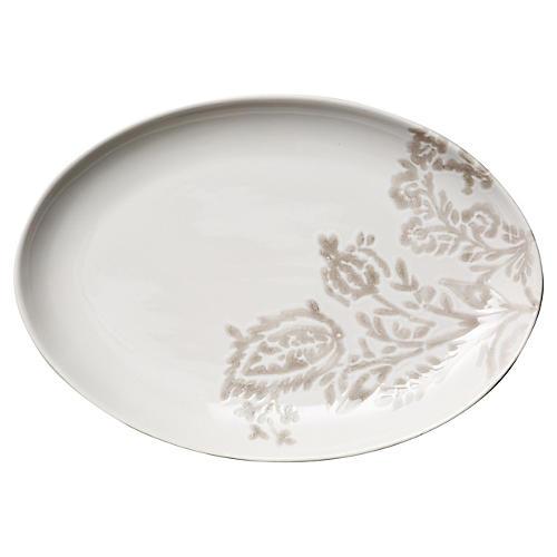 Hand-Stamped Floral Platter, Khaki