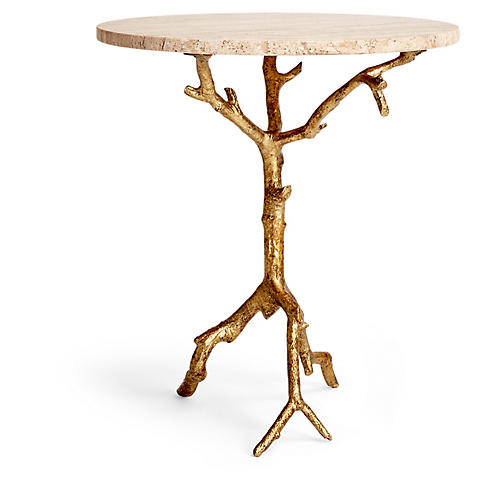 Laurel Side Table, White/Gold