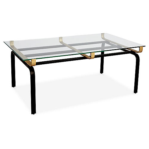 Juliette Rectangular Coffee Table, Clear/Gold