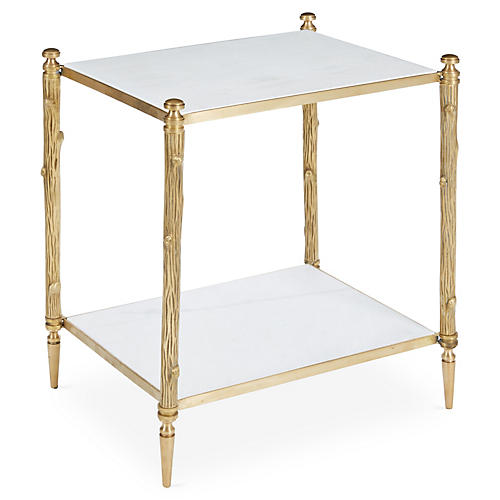Fabian Side Table, Brass/White