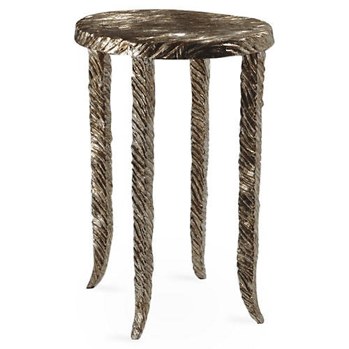 "Silver Waves 13"" Side Table, Silver"
