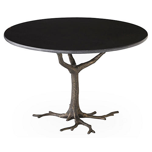"Faux Bois 41"" Dining Table, Granite/Iron"