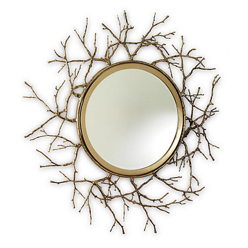 "Twig 44"" Wall Mirror, Brass"