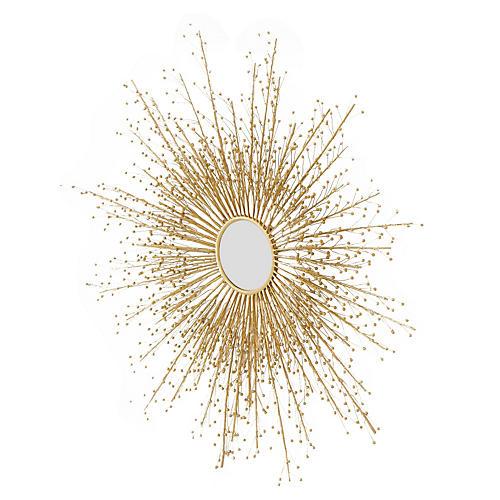 Berries Sunburst Mirror, Brass