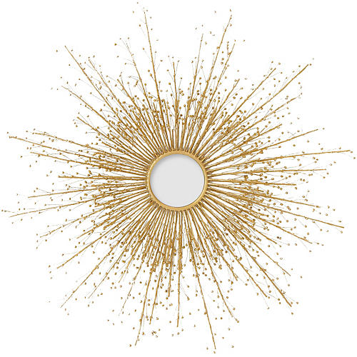 Berries Sunburst Mirror, Brass