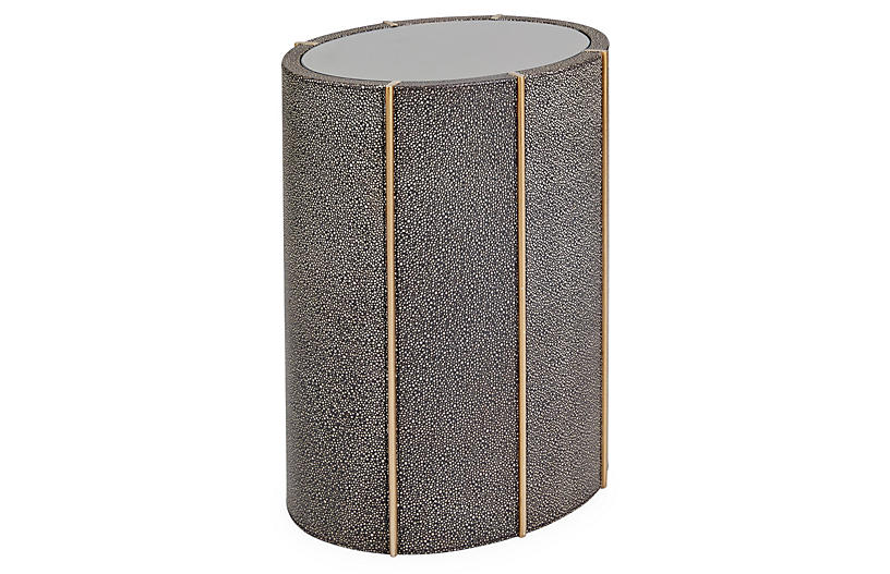 Churchill Drum Side Table, Brown