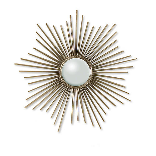 "Ozzie 24"" Wall Mirror, Nickel"