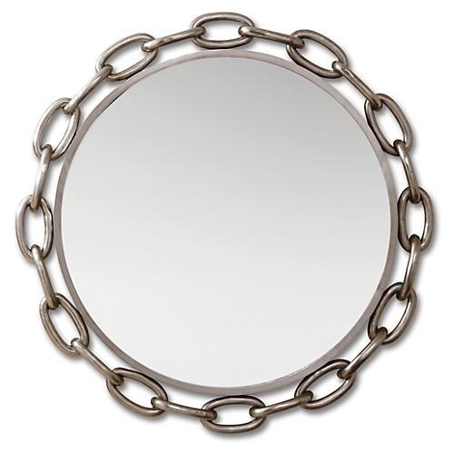 "Michael 40"" Wall Mirror, Nickel"