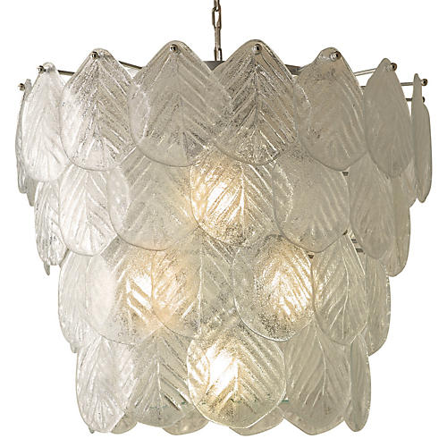 Murano Leaf Chandelier, Clear