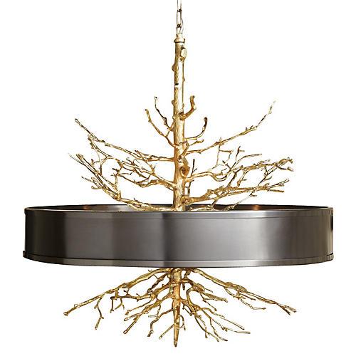 Twig Pendant, Brass w/ Bronze Shade