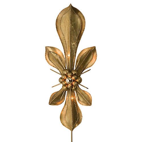 Fleur De Lis Wall Sconce, Brass