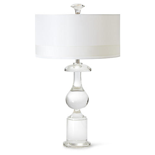 Classic Bulb Crystal Table Lamp, Clear/Nickel