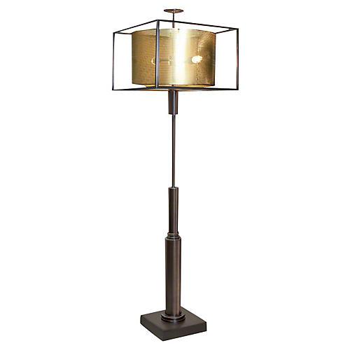 Double Shade Floor Lamp, Brass