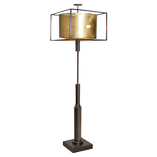 Double Shade Floor Lamp, Brass