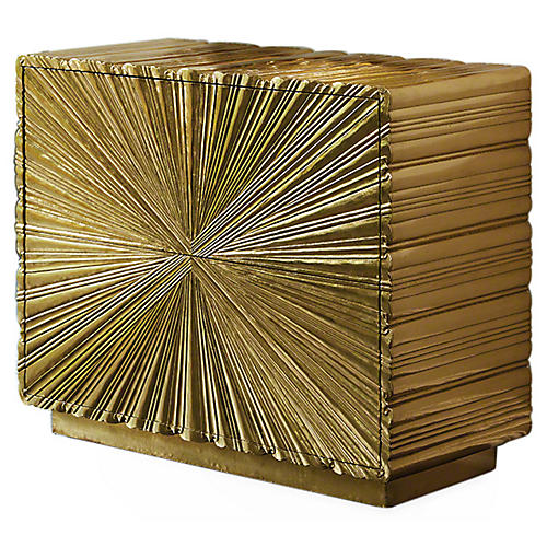 Linen Fold 2-Drawer Dresser, Gold