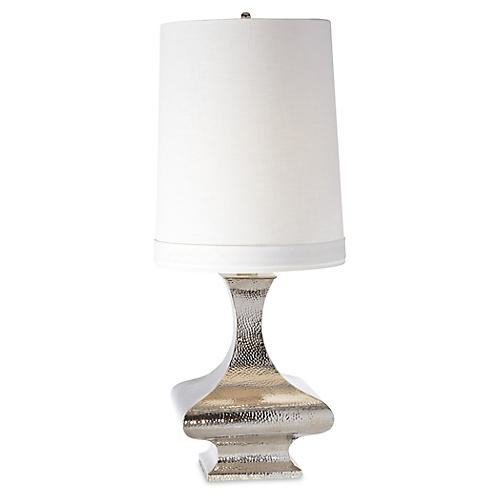 Hammered Table Lamp, Shiny Nickel