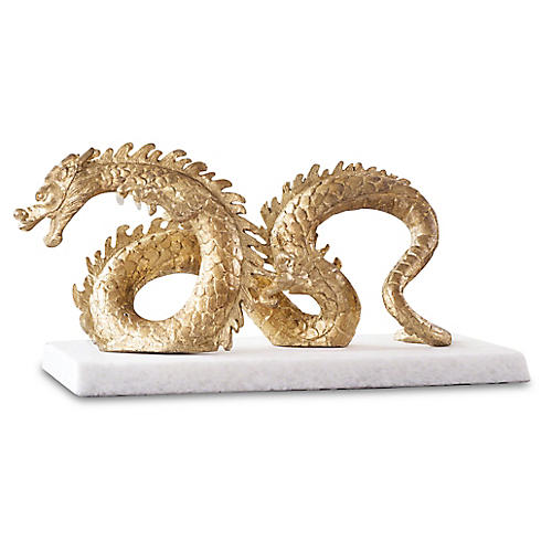 "16"" Dragon on Marble Figure, Gold/White"