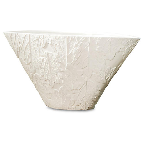 "19"" Leaf Relief Oblong Vase, White"