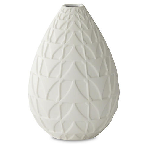 "9"" Decorative Norden Vase, White"