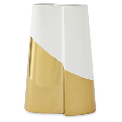 "12"" Metallic-Dipped Vase, Gold/White"