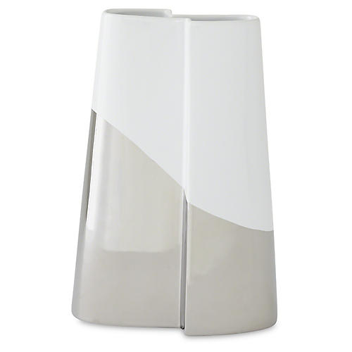 "12"" Metallic-Dipped Vase, Silver/White"