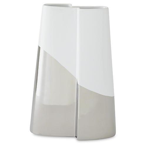 """12"""" Metallic-Dipped Vase, Silver/White"""