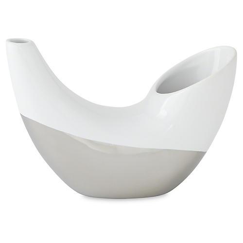"9"" Metallic-Dipped Horn Vase, Silver"
